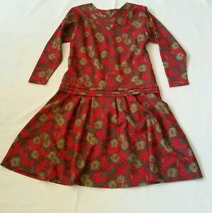 Vtg-80s-Red-Brown-Floral-Lightweight-Wool-Midi-Dress-M-Long-Sleeves-Drop-Waist