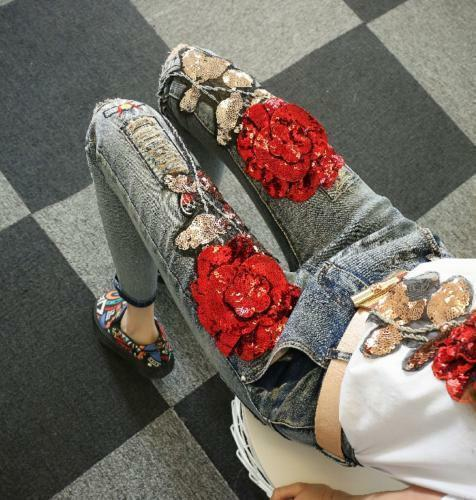 New Womens Denim Jean Skinny Pants Bling Floral Ripped Out Sequins Trousers cn72