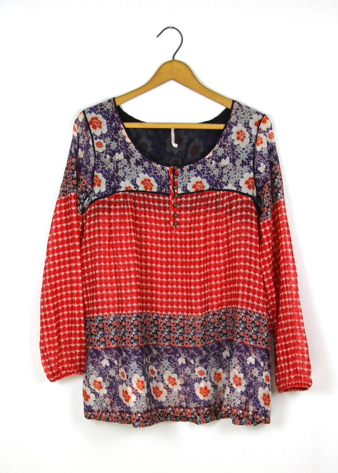 Free People Sz S Tunic Top rot+lila Floral Print Cotton Long Sleeve Flowy EUC