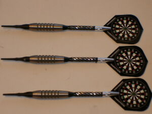 Soft-Tip-Darts-Used-16-Gram-Tungsten-with-New-Alum-Spin-Shafts-amp-Flights-1532