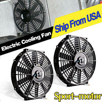 2x 12inch Black Electric Push Pull Cooling Fans Truck Radiator Mounting Kit 12v