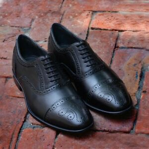 Black-Oxfords-Dress-Shoes-Men-039-s-Brogues-Formal-Party-Handmade-Calf-Leather-Shoes
