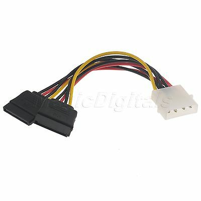 15CM 4 Pin IDE Male Molex to Dual SATA Y Splitter Female HDD Power Adapter Cable