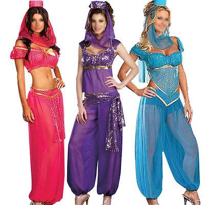 Womens Purple Genie Jasmine Aladdin Disney Ladies Fancy Dress Costume Size 6-8