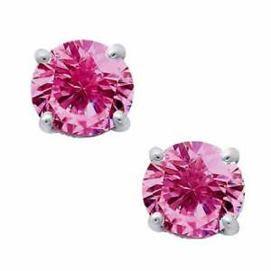 Pink-CZ-Stud-Earrings-in-Solid-Sterling-Silver-6-5mm-Cubic-Zirconia