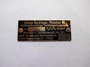 Johann Rockinger AHK Typenschild Schild Anhängerkupplung Oldtimer LKW 271 U 140