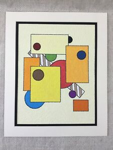 Details About Abstract Painting Original Colorful Geometric Shapes Mondiran Style Art