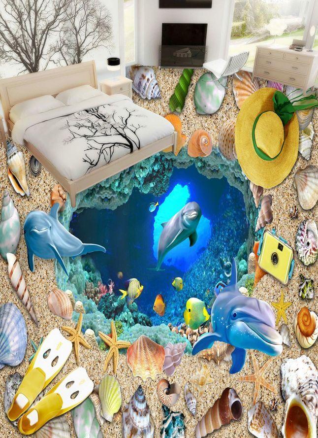 3D fish beach shell 132 Floor WallPaper Murals Wall Print Decal 5D AJ WALLPAPER