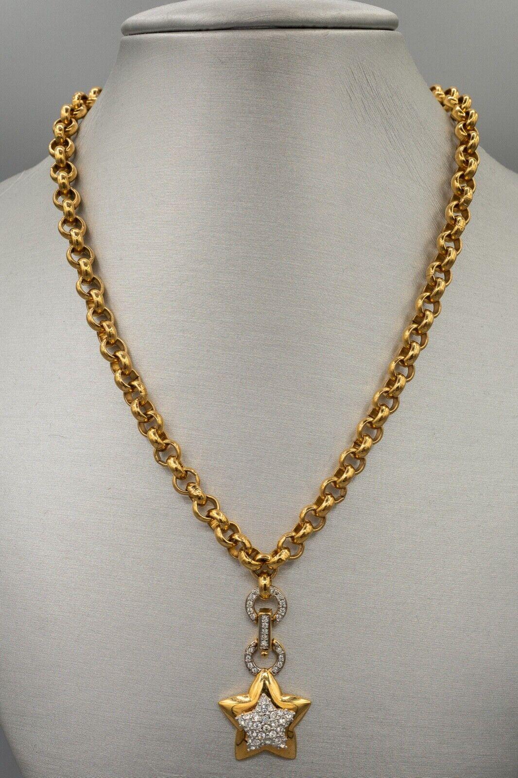 Swarovski Crystal Necklace, Gold Tone Star Pendan… - image 1