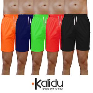Costume-da-Bagno-Uomo-Mare-Piscina-Pantaloncino-FLUO-corto-Bermuda-Rosso-Giallo