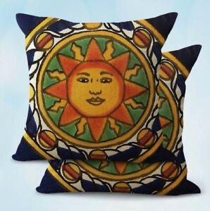 US-Seller-2PCS-decor-throw-pillowcase-talavera-tile-Spain-Mexico-cushion-cover