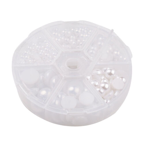 1Box Imitation Pearl ABS Acrylic Dome Bead Cabochons Half Round White 4~12x2~6mm