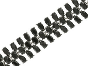 8-30-35ctw-Oval-Black-Spinel-Sterling-Silver-Bracelet