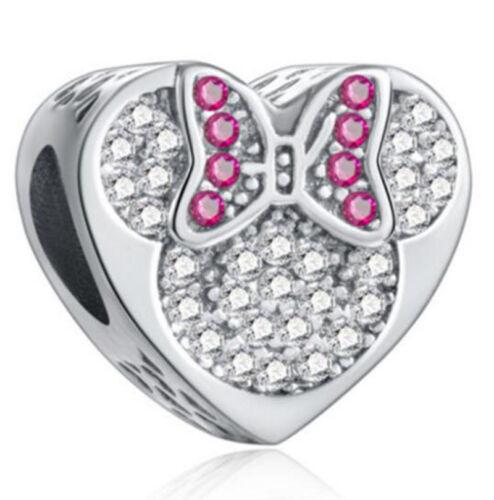 European 925 Silver CZ Charm Beads Pendant Fit sterling Bracelet Necklace N#672