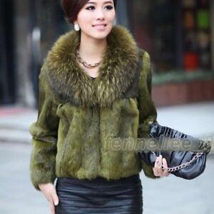 Womens-Raccoon-Fur-Collar-Genuine-Rabbit-Fur-Jacket-Outwear-Coat-Winter-Parka-Sz