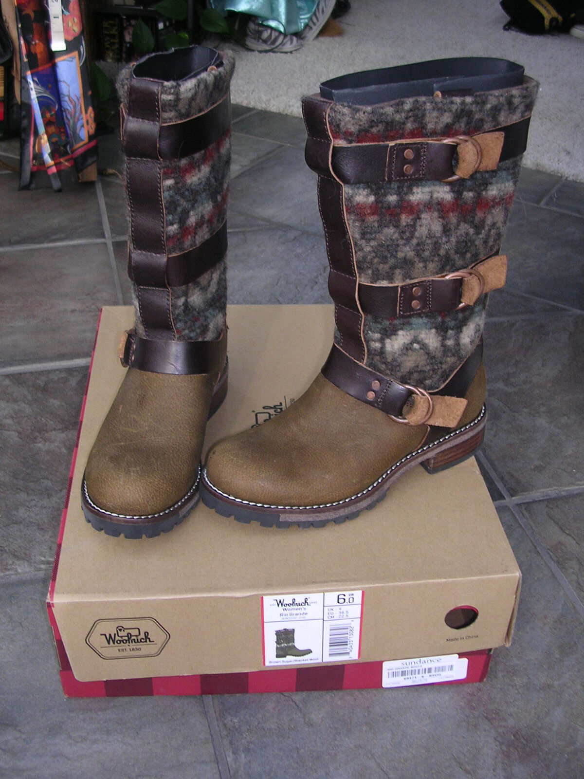 AWESOME SUNDANCE  298 WOOLRICH RIO GRANDE LEATHER WOOL BLANKET BUCKLE BOOTS