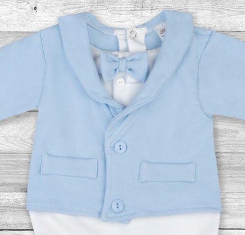 Bébé Garçon Bleu Tout-en-un costume de mariage Baptême Formel Parti Smart Tenue 0-9 m