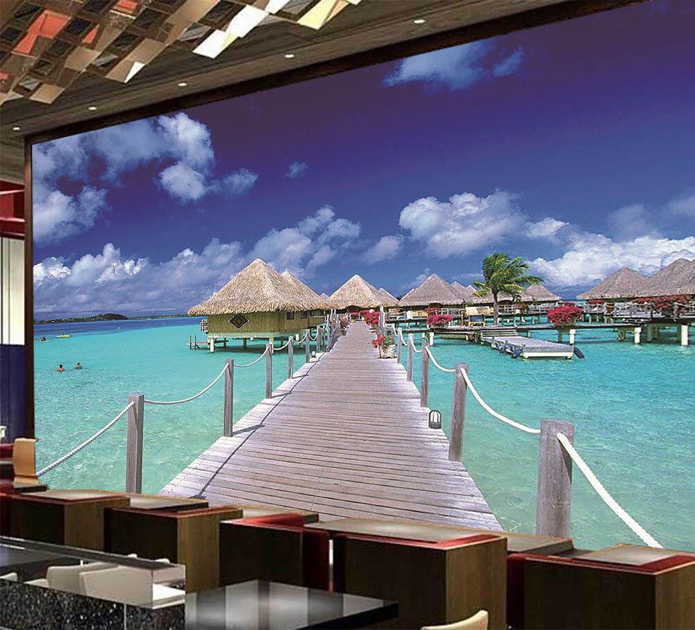 Seaside Leisure Villa 3D Full Wall Mural Photo Wallpaper Print Home Kids Decor