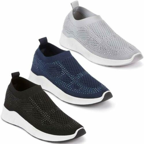 Ladies Running Trainers New Mesh Knit Slip On Fitness Gym Sports Fashion Shoes