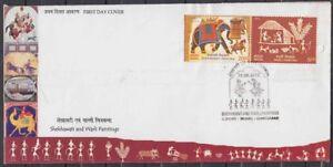 India-FDC-2012-Set-of-2-Stamps-Shekhawati-amp-Warli-paintings-Stamps
