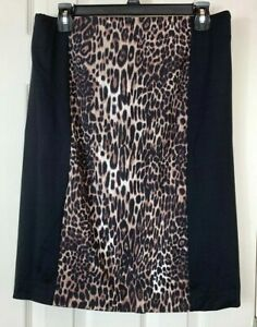 New-Cynthia-Rowley-Skirt-Medium-M-Black-Leopard-Print-Color-Block-Stretch-Waist
