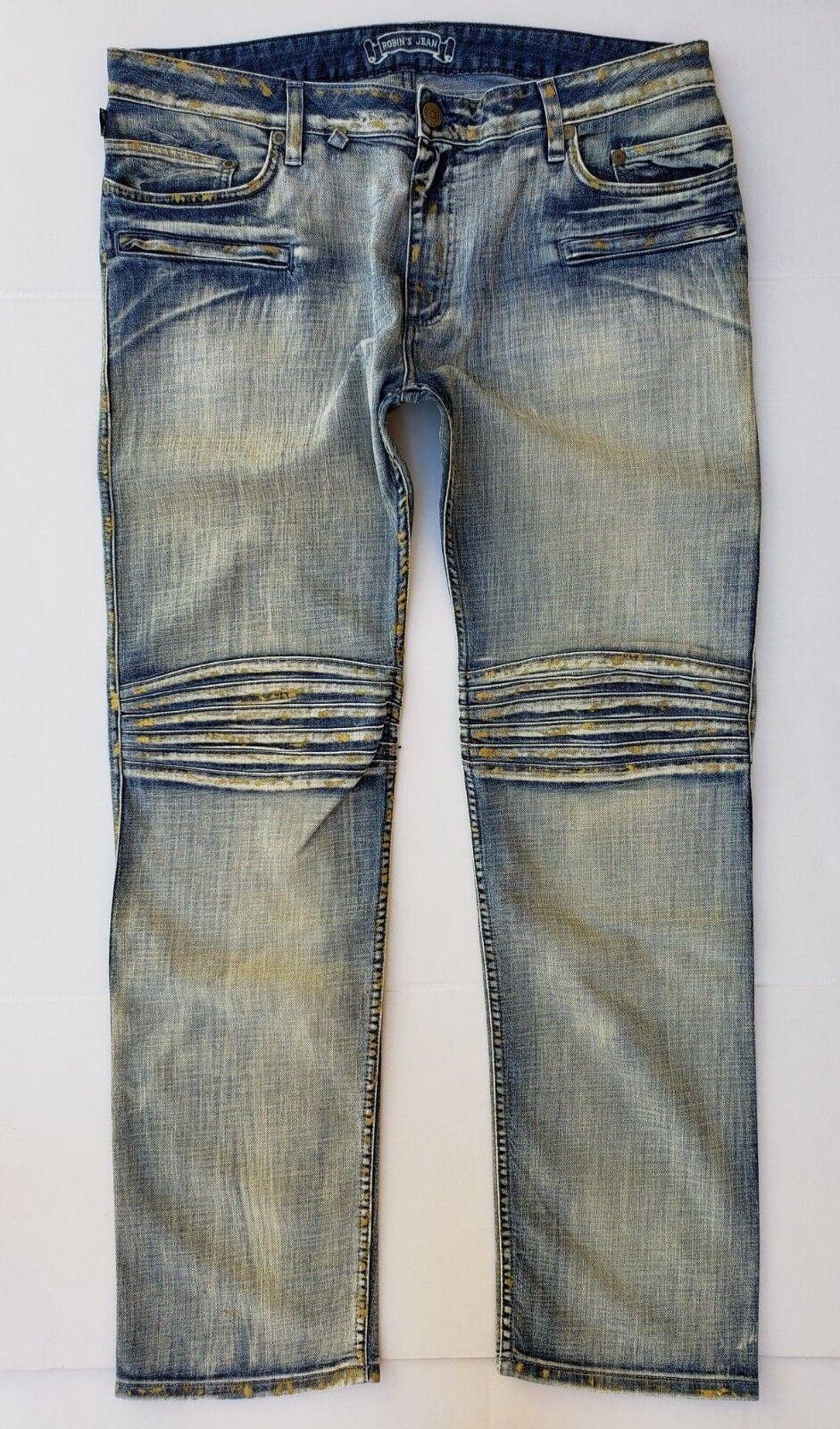 Nuovo da Uomo di ROBIN Jeans Taglie 44 Motard Slim Jeans Dritto  SPACE547