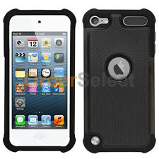 Hybrid Rugged Rubber Hard Case for Apple iPod Touch 5 5th Gen Black 300