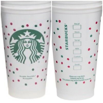 Starbucks Red Reusable Plastic Christmas Cup 16oz 473ml