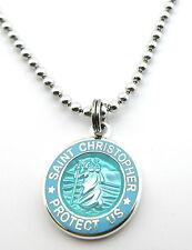 Mini Saint Christopher Medal Necklace Protector of Travel aq-bb Aquamarine-Baby