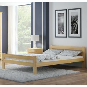 promo code ae144 aca3e Details about Wooden Pinewood Bed Frame 4FT Small Double 120x190 cm Slats  Varnished Pine Wood