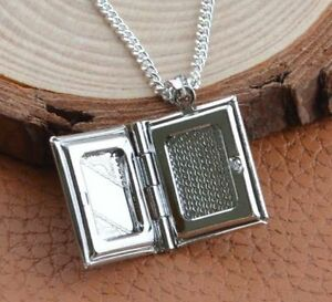 Uk silver book locket pendant necklace photo love snake chain gift image is loading uk silver book locket pendant necklace photo love aloadofball Images