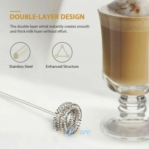 3-Speed Electric Milk Frother USB Rechargeable Handheld Foam Maker with 2 Whisks