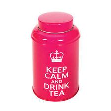 KEEP CALM AND DRINK TEA Tea Storage Tin Pink Size 10 x 9cm