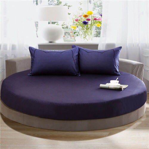 100/% Cotton Round Fitted Bed Sheet European Style Solid Color Bedspread Bed