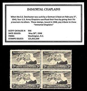 1948-IMMORTAL-CHAPLAINS-Block-of-Four-Vintage-U-S-Postage-Stamps