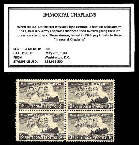Postage Stamps Block of Four Vintage U.S IMMORTAL CHAPLAINS 1948