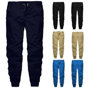 Men-Casual-Trousers-Joggers-Slim-Fit-Cargo-Combat-Work-Pockets-Long-Pants-Slacks