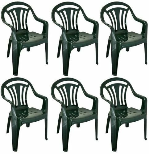 6 x Pvc Plastic Garden Chair Low Back Green Lawn Furniture Out Door Summer New