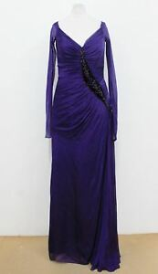 Size Maxi Silk Ladies Long Dress Dark neck S Corset Purple V Approx Sleeved x88vpBEw