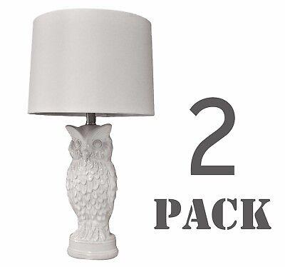 """Set of 2 White Owl Ceramic Table Lamp for Bedroom Living Room - 27""""H"""