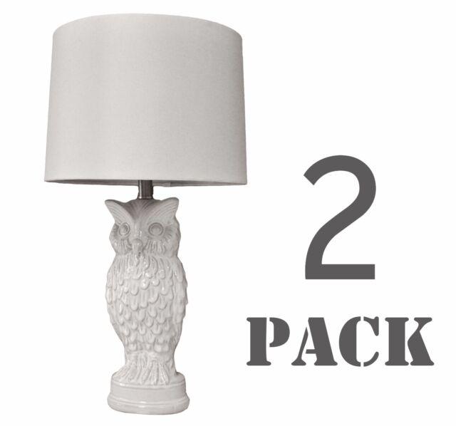 Set Of 2 White Owl Ceramic Table Lamp For Bedroom Living Room 27 H