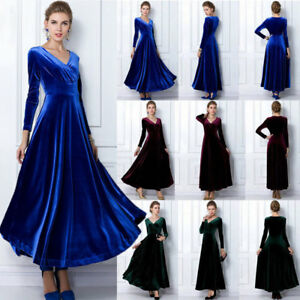 aedf56d11a Women Swing V Neck Velvet Evening Ball Cocktail Party Long Maxi ...
