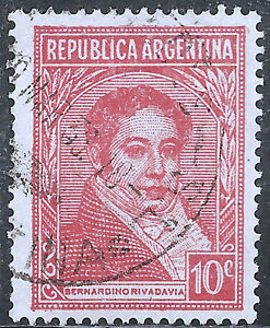 """Scott #430/a137 10c Carmine """"rivadavia"""" Canc/lh 1935 Rich In Poetic And Pictorial Splendor Search For Flights Argentina Stamp Stamps"""