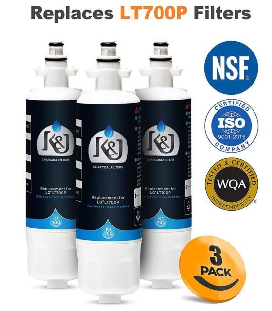 3Pack LG LT700P ADQ36006101 Kenmore 46-9690 Fridge Water Filter Cartridge