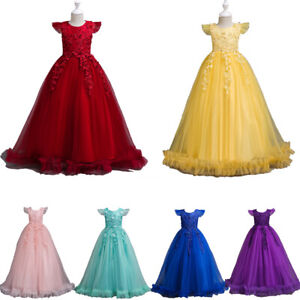 Kids Flower Girls Dress Party Dresses Bridesmaid Wedding Tulle Prom Long Gown