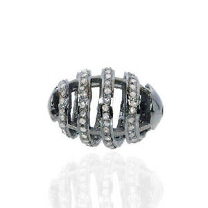 Diamond-Pave-Handmade-Oval-Spacer-Finding-Vintage-Style-Jewelry-925-Silver