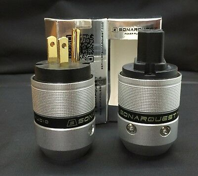 Black SONARQUEST  BLK Silver CRYO Ag IEC Connector and US Plug power plug 1 pair