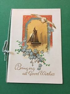 Vintage-Card-bringing-Good-Wishes-Bird-Boats-Gold-Embossed-Flowers-Vintage-P64