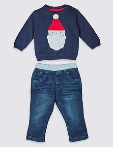 f2a3f8aed21da Bébé Premier Noël Tenue Pull Garçons Pantalon Jeans 2 Pièce Papa ...