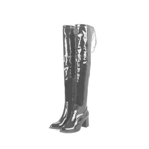 Damen Overkneestiefel Spitz Blockabsatz High Heel Stretch-stiefel Lange Stiefel